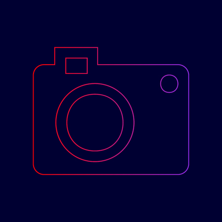 Digital camera sign. Vector. Line icon with gradient from red to violet colors on dark blue background. Illustration
