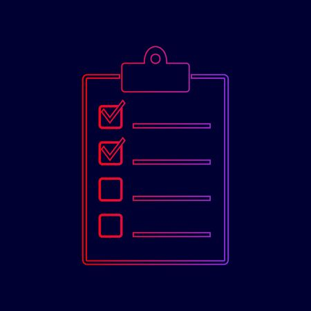 Checklist sign illustration. Vector. Line icon with gradient from red to violet colors on dark blue background.