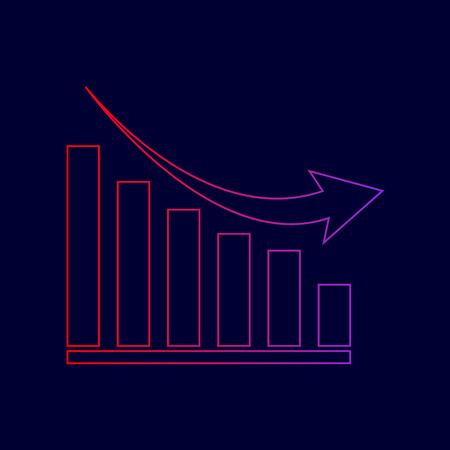 Declining graph sign. Vector. Line icon with gradient from red to violet colors on dark blue background. Illustration