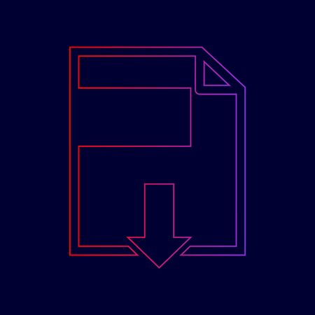 File download sign. Vector. Line icon with gradient from red to violet colors on dark blue background. Illustration