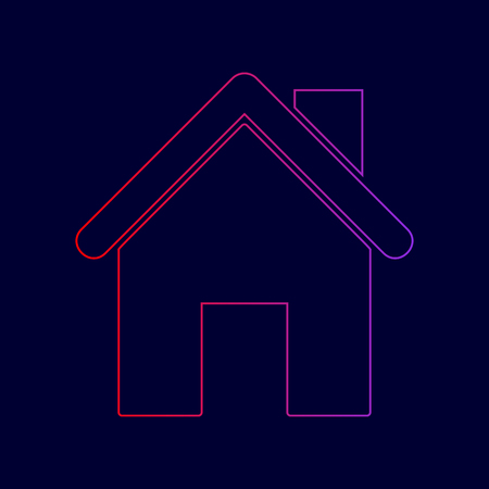 Home silhouette illustration. Vector. Line icon with gradient from red to violet colors on dark blue background. Ilustração