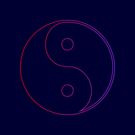 Ying yang symbol of harmony and balance. Vector. Line icon with gradient from red to violet colors on dark blue background. Illustration