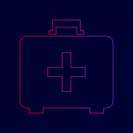 Medical First aid box sign. Vector. Line icon with gradient from red to violet colors on dark blue background. Illustration