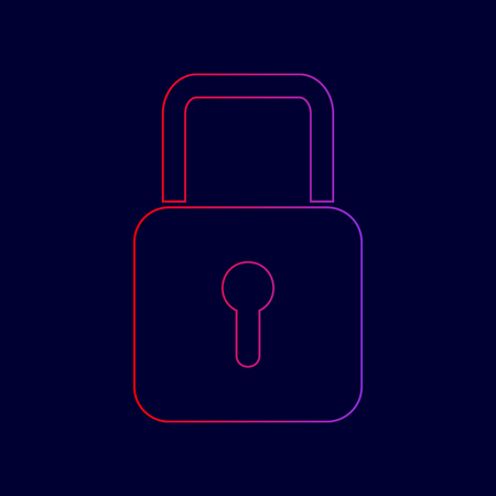 Lock sign illustration. Vector. Line icon with gradient from red to violet colors on dark blue background.