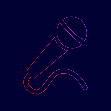 Microphone sign illustration. Vector. Line icon with gradient from red to violet colors on dark blue background.