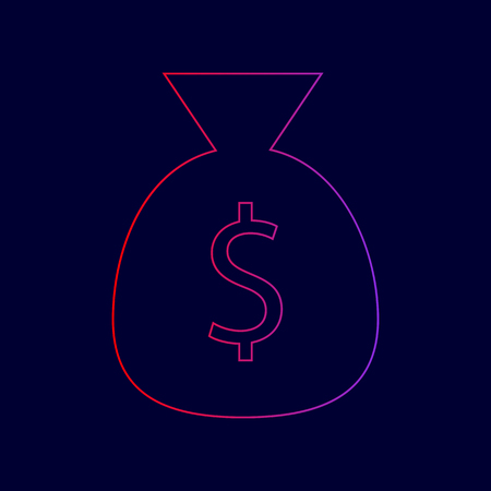 Money bag sign illustration. Vector. Line icon with gradient from red to violet colors on dark blue background.