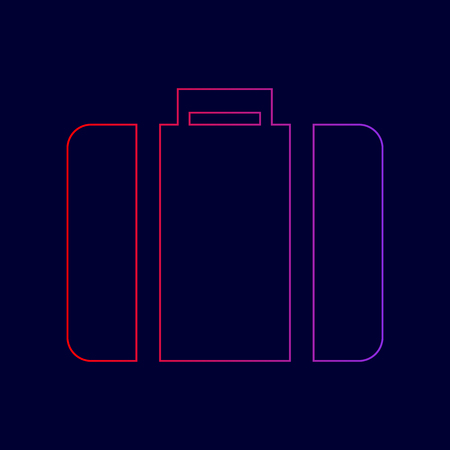 Briefcase sign illustration. Vector. Line icon with gradient from red to violet colors on dark blue background.