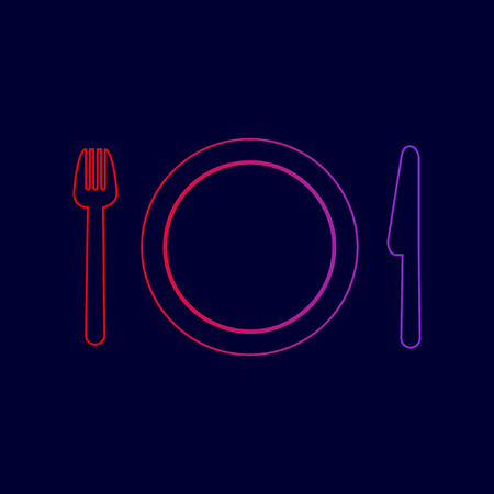 Fork, plate and knife. Vector. Line icon with gradient from red to violet colors on dark blue background.