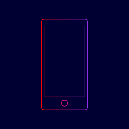 Abstract style modern gadget with blank screen. Template for any content. Vector. Line icon with gradient from red to violet colors on dark blue background.