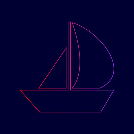 Sail Boat sign. Vector. Line icon with gradient from red to violet colors on dark blue background.