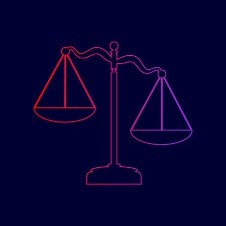 Scales of Justice sign. Vector. Line icon with gradient from red to violet colors on dark blue background.