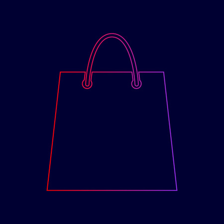 Shopping bag illustration. Vector. Line icon with gradient from red to violet colors on dark blue background. Illustration