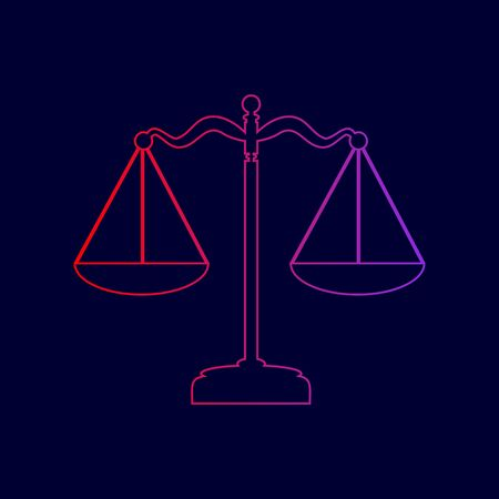 Scales balance sign. Vector. Line icon with gradient from red to violet colors on dark blue background.