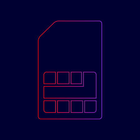 Sim card sign. Vector. Line icon with gradient from red to violet colors on dark blue background. Illustration