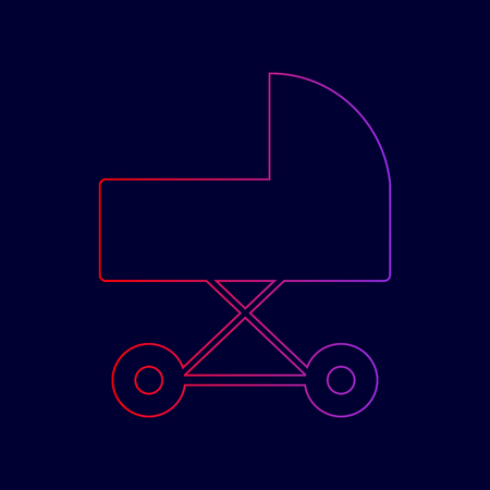 Pram sign illustration. Vector. Line icon with gradient from red to violet colors on dark blue background.