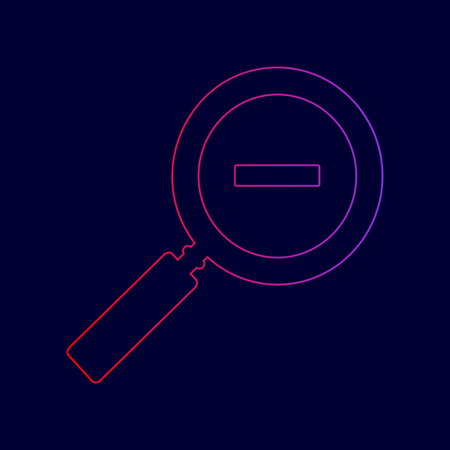 Zoom sign illustration. Vector. Line icon with gradient from red to violet colors on dark blue background.