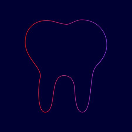 Tooth sign illustration. Vector. Line icon with gradient from red to violet colors on dark blue background.