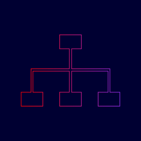 Site map sign. Vector. Line icon with gradient from red to violet colors on dark blue background.