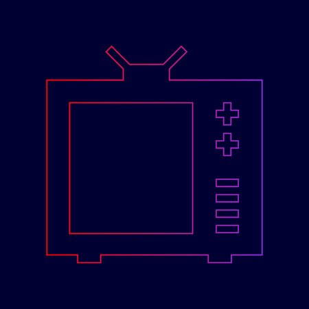 TV sign illustration. Vector. Line icon with gradient from red to violet colors on dark blue background.