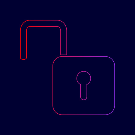 Unlock sign illustration. Vector. Line icon with gradient from red to violet colors on dark blue background. Illustration