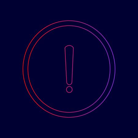Exclamation mark sign. Vector. Line icon with gradient from red to violet colors on dark blue background.