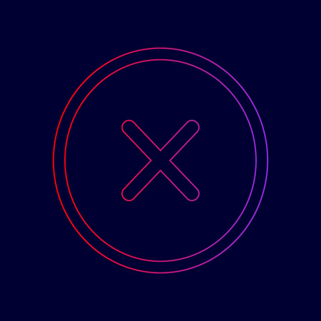 Cross sign illustration. Vector. Line icon with gradient from red to violet colors on dark blue background.
