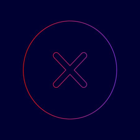 right choice: Cross sign illustration. Vector. Line icon with gradient from red to violet colors on dark blue background.