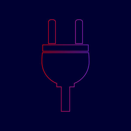 Socket sign illustration. Vector. Line icon with gradient from red to violet colors on dark blue background. Illustration