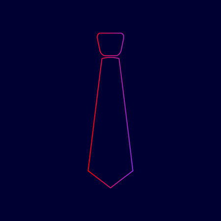 Tie sign illustration. Vector. Line icon with gradient from red to violet colors on dark blue background. Illustration