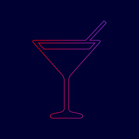 Cocktail sign illustration. Vector. Line icon with gradient from red to violet colors on dark blue background.