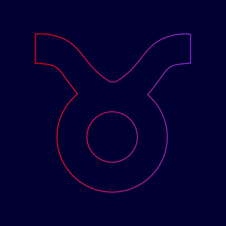 Taurus sign illustration. Vector. Line icon with gradient from red to violet colors on dark blue background.