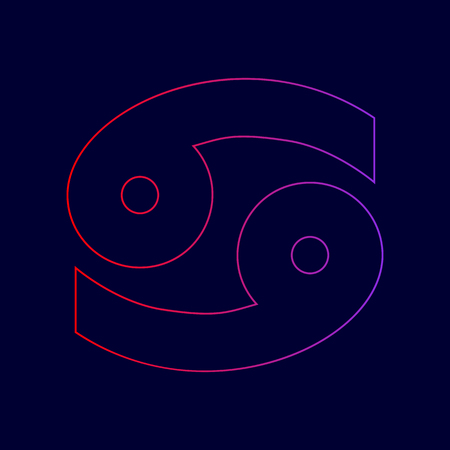 Cancer sign illustration. Vector. Line icon with gradient from red to violet colors on dark blue background. Illustration
