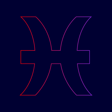 Pisces sign illustration. Vector. Line icon with gradient from red to violet colors on dark blue background. Illustration