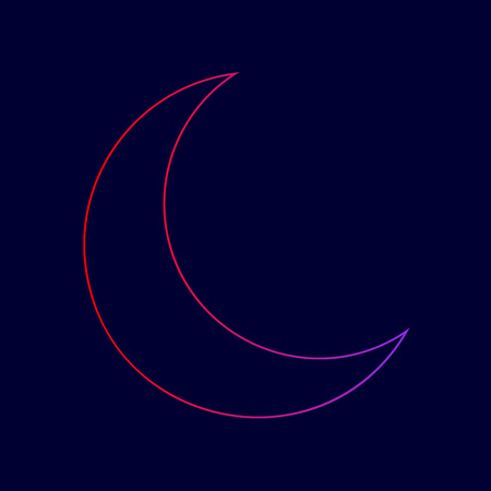 Moon sign illustration. Vector. Line icon with gradient from red to violet colors on dark blue background. Illustration