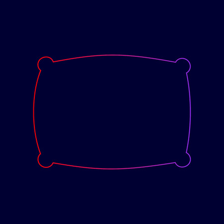 spongy: Pillow sign illustration. Vector. Line icon with gradient from red to violet colors on dark blue background.