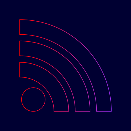 RSS sign illustration. Vector. Line icon with gradient from red to violet colors on dark blue background.