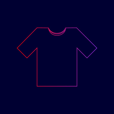 T-shirt sign illustration. Vector. Line icon with gradient from red to violet colors on dark blue background.