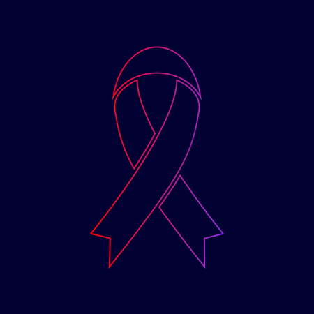 Black awareness ribbon sign. Vector. Line icon with gradient from red to violet colors on dark blue background.
