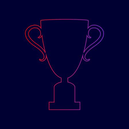 챔피언 컵 기호입니다. 벡터. 진한 파란색 배경에 빨강에서 보라색 색상까지 그라디언트로 라인 아이콘. 일러스트