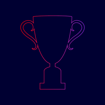 Champions Cup sign. Vector. Line icon with gradient from red to violet colors on dark blue background.