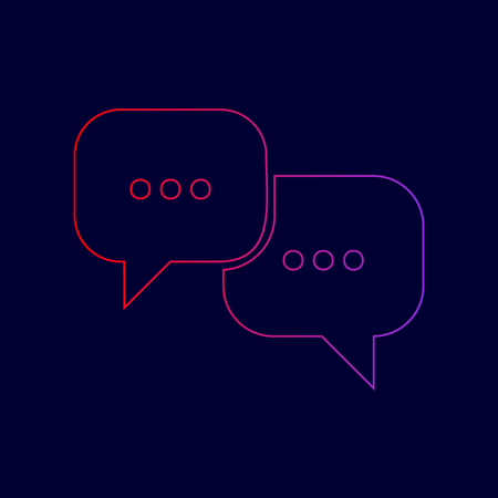 html5: Speech bubbles sign. Vector. Line icon with gradient from red to violet colors on dark blue background.