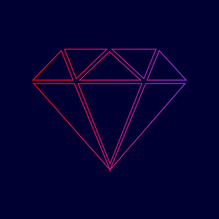 Diamond sign illustration. Vector. Line icon with gradient from red to violet colors on dark blue background.