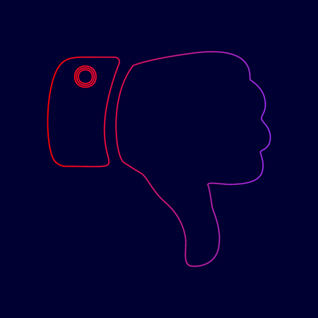 disapprove: Hand sign illustration. Vector. Line icon with gradient from red to violet colors on dark blue background.