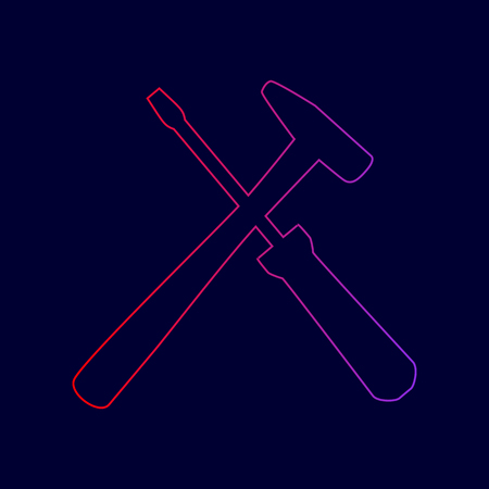 Tools sign illustration. Vector. Line icon with gradient from red to violet colors on dark blue background. Illustration