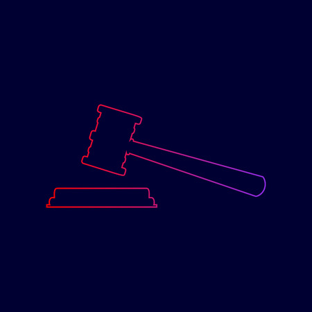Justice hammer sign. Vector. Line icon with gradient from red to violet colors on dark blue background.