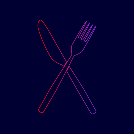 Fork and Knife sign. Vector. Line icon with gradient from red to violet colors on dark blue background.