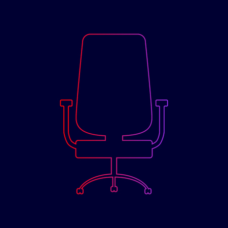 Office chair sign. Vector. Line icon with gradient from red to violet colors on dark blue background.