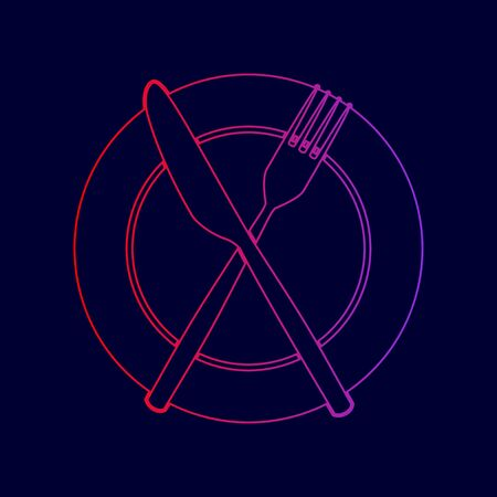 Fork, Knife and Plate sign. Vector. Line icon with gradient from red to violet colors on dark blue background.