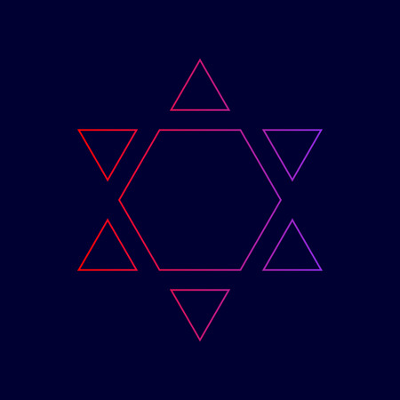 Shield Magen David Star Inverse. Symbol of Israel inverted. Vector. Line icon with gradient from red to violet colors on dark blue background. Illustration