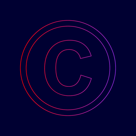 Copyright sign illustration. Vector. Line icon with gradient from red to violet colors on dark blue background.